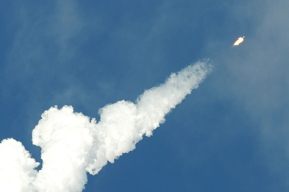 A SpaceX Falcon 9 rocket leaves a trail after successfully being launched from Cape Canaveral Air Force Station on November 11 carrying 60 Starlink satellites.