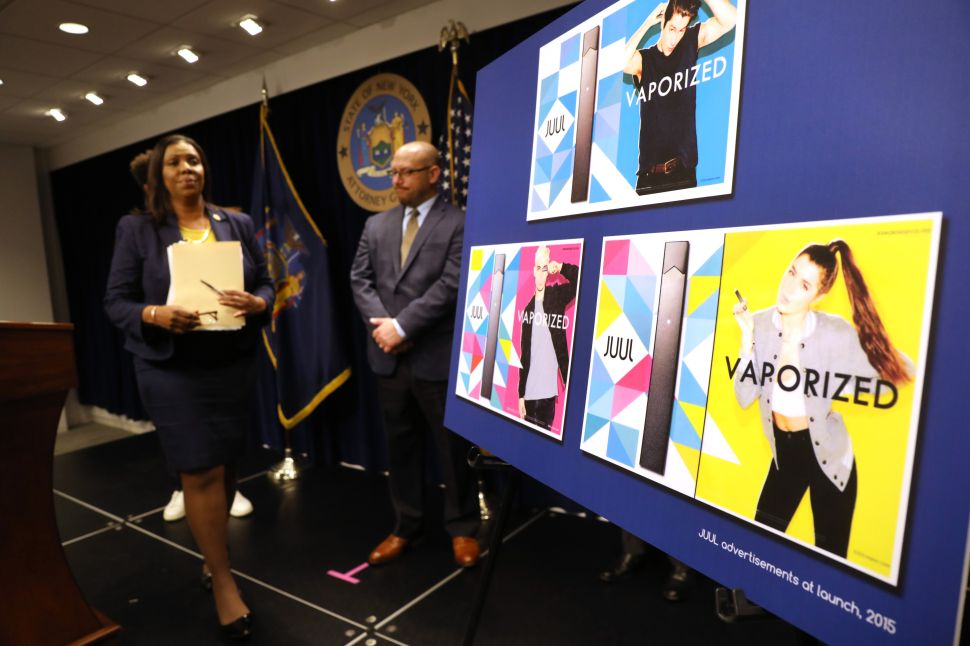 State Attorney General Letitia James leaves the podium after announcing a lawsuit against e-cigarette giant Juul on Nov. 19, 2019 in New York City.