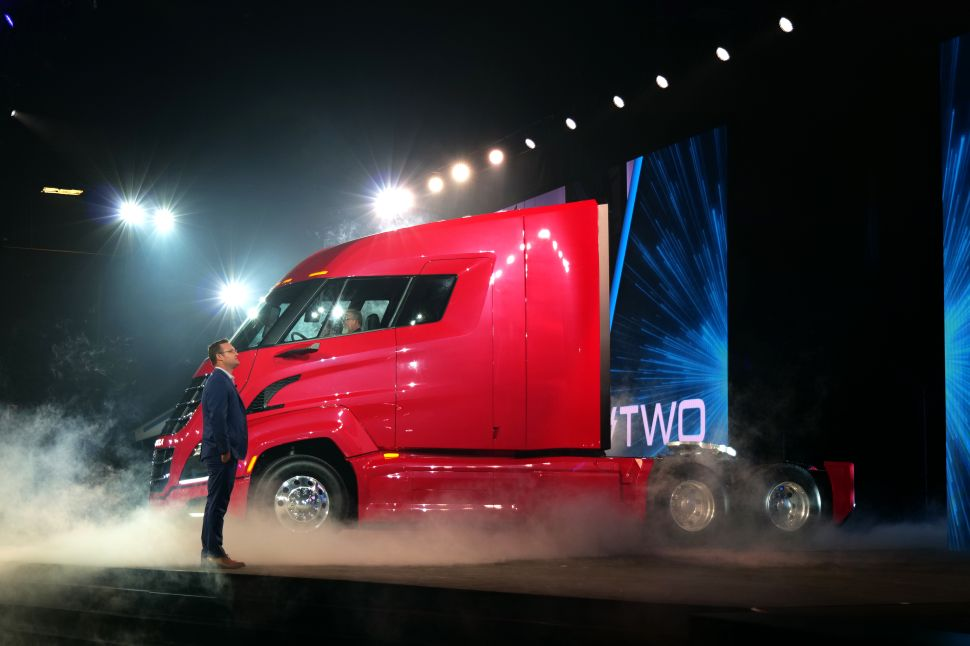Trevor Milton introduces Nikola Two during a launch event on April 17, 2019.