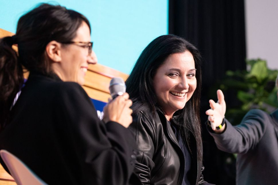 Cindy Robbins, former president and chief people officer at Salesforce, speaks at the Riveter Summit in New York City on November 6, 2019.