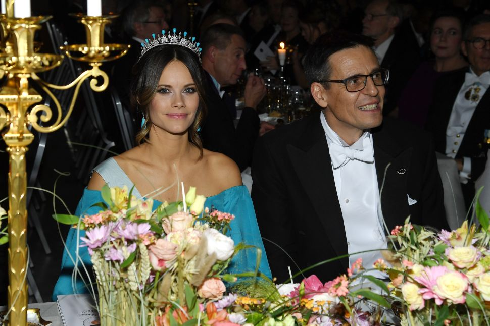 Princess Sofia of Sweden (L) and Professor Didier Queloz, laureate of the Nobel Prize in Physics, attend the Nobel Prize Banquet 2019 at City Hall on December 10, 2019 in Stockholm, Sweden.