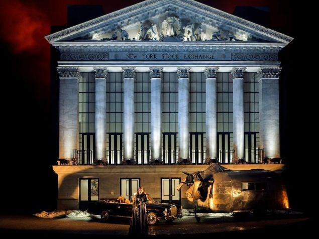 The New York Stock Exchange goes up in flames at the Bayreuth Festival.