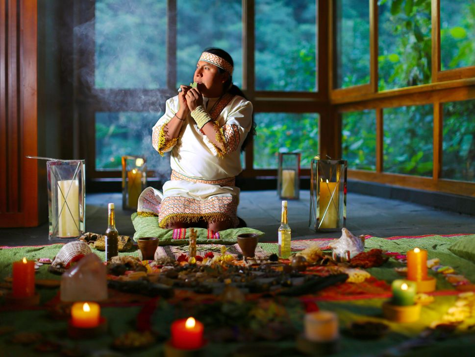 A shaman comes to the hotel for rituals and ceremonies.