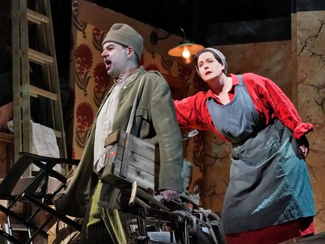 Peter Mattei in the title role and Elza van den Heever as Marie in William Kentridge's new production of Berg's 'Wozzeck'.