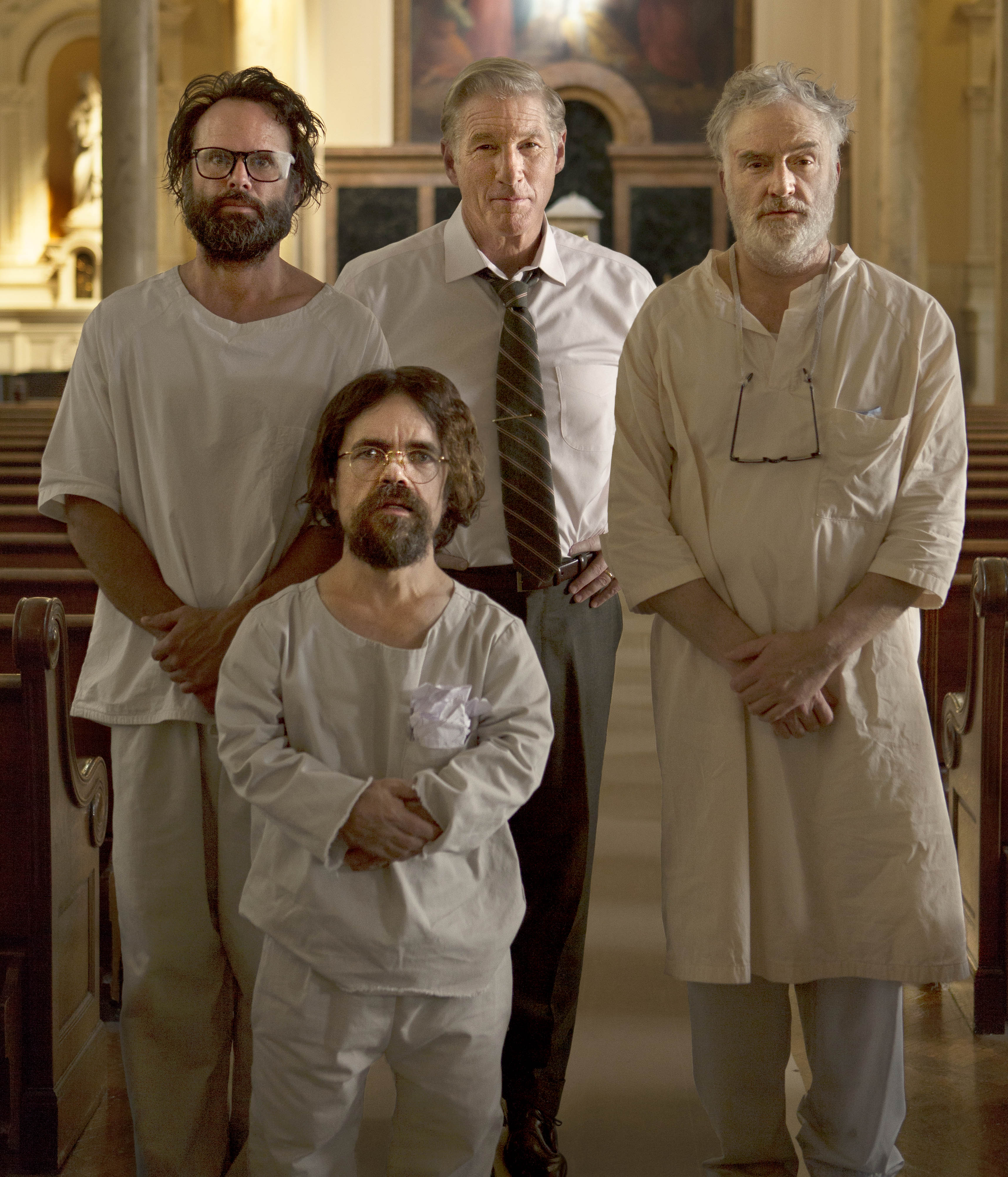 From left: Walton Goggins, Peter Dinklage, Richard Gere and Bradley Whitford in Three Christs