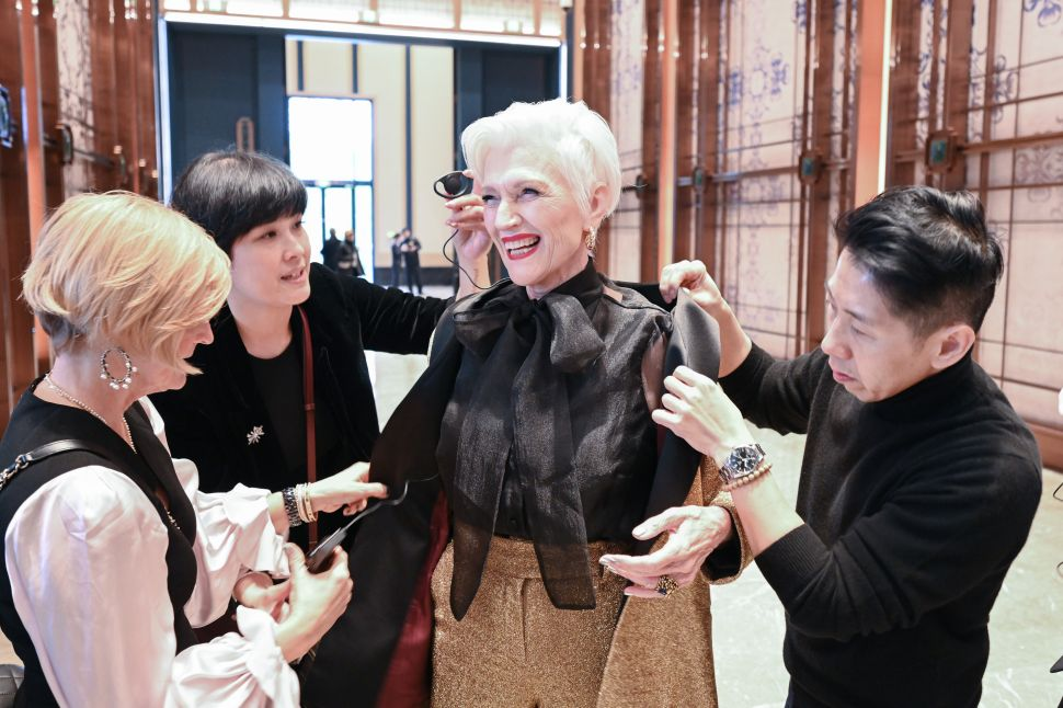 Maye Musk prepares for a stage appearance during her book campaign in Jiaxing, China on December 22, 2019.