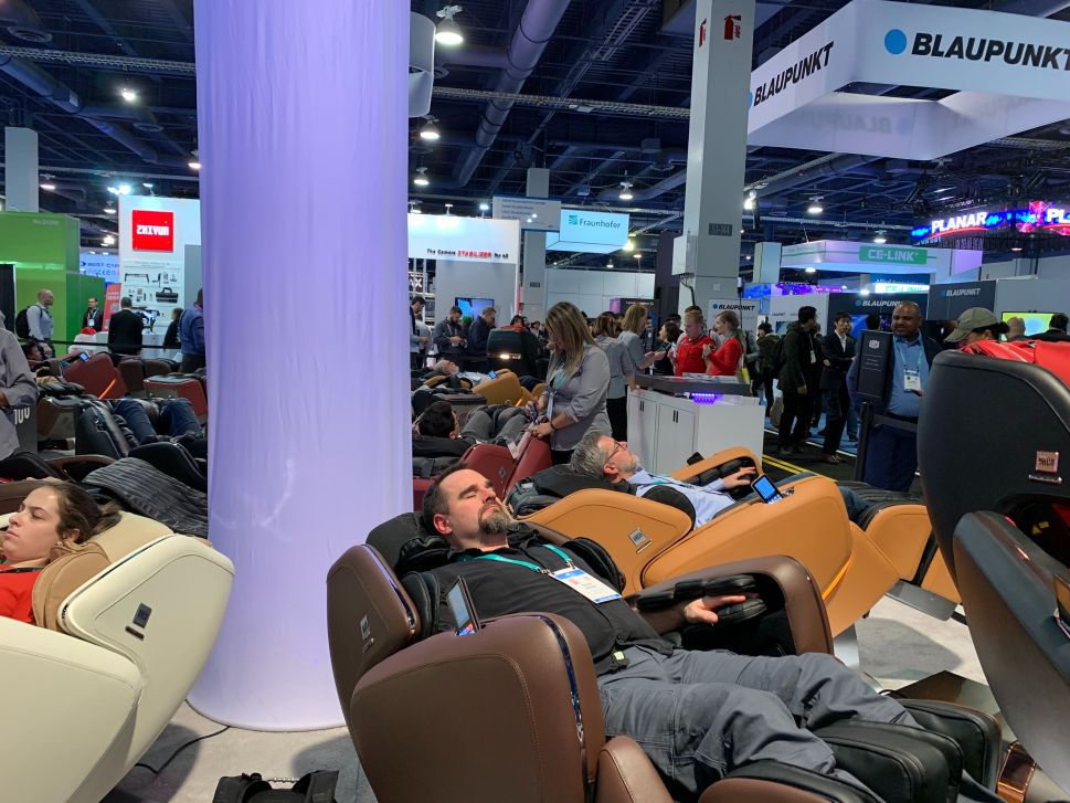 Luxury massage chair maker OHCO showcases its latest M.8 massage chair made in collaboration with VR company Esqape. Price starts at $12,000.