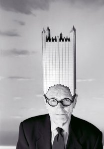 philip johnson with building hat Philip Johnson Gets Exhibition at The Lipstick Building