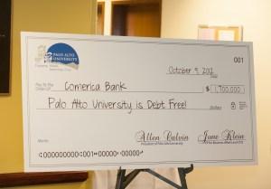 check Palo Alto University Makes Last Mortgage Payment, Becomes Debt Free