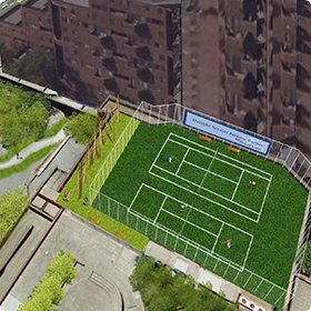 A rendering of the proposed roof top tennis courts