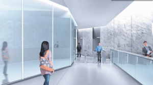 Renderings of the new lobby at 60 Madison Avenue.