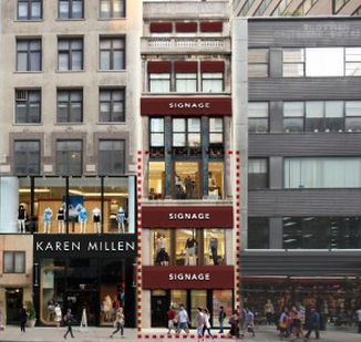 An illustration depicts signage opportunities at 585 Fifth Avenue