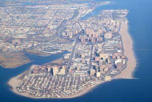 An aerial view of Brooklyn's Riegalmann Boardwalk