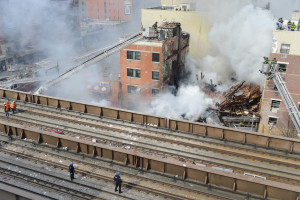 The scene in East Harlem following the explosion. (Credit: Rob Bennett/NYC Mayor's Office)