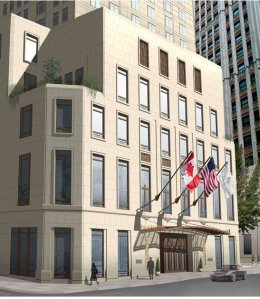 Rendering of the Four Seasons Hotel entrance at 30 Park Place. (Credit: Silverstein Properties website)