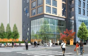 Rendering of the Pace University dorm and public space at 33 Beekman Street
