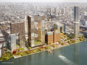 A rendering of the proposed Domino Sugar development. (Credit: SHoP Architects
