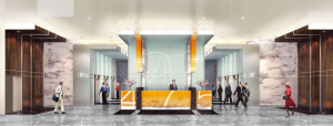 Rendering of the lobby at 475 Park Avenue South.