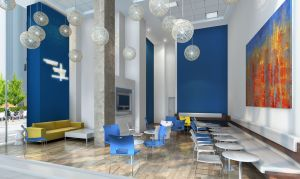 Rendering of the student lounge at 33 Beekman Street