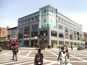 301 West 125th Street: A 100,000 SF retail box developed by Aurora Capital and partners, opened in 2013. (Photo: Al Barbarino)