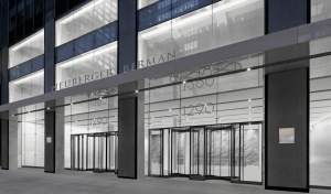 A rendering of 1290 Avenue of the Americas with Neuberger Berman branding.