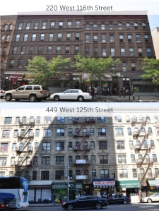 220 West 116th Street and 449 West 125th Street.