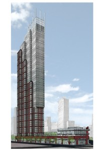 A rendering of the planned tower at Flatbush and Schermerhorn.