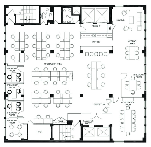 Blueprint of 142 West 36th Street_12th Fl_View the Space's office space.
