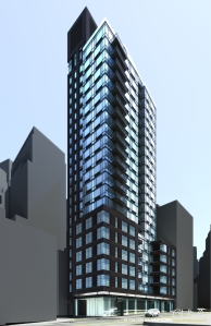Rendering of the exterior of 56 Fulton Street