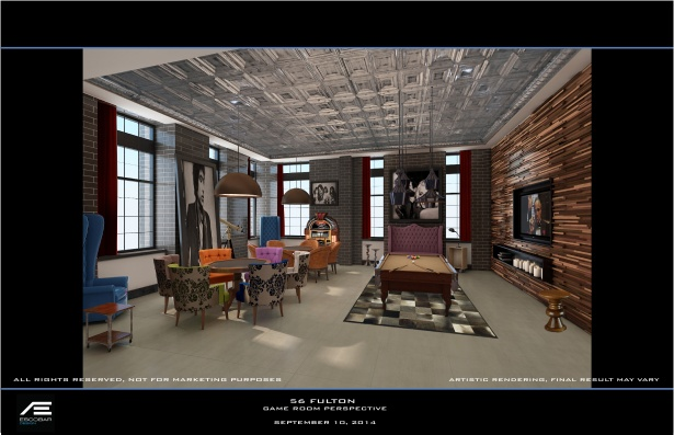 Rendering of the parlor at 56 Fulton Street.