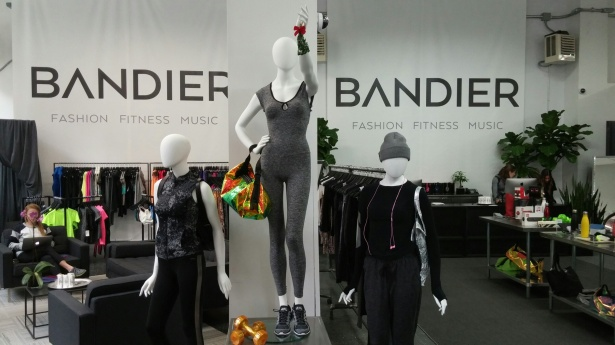 Inside a Bandier store.