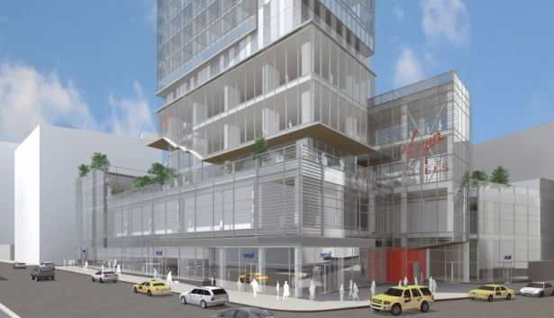 Rendering of the future Virgin Hotel on the block front on Broadway from 29th to 30th Streets.