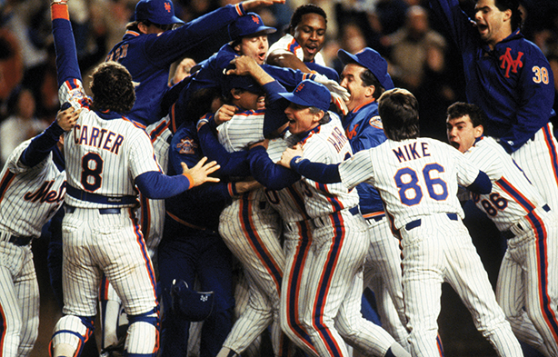 Mets become world champs after winning game 7 of the 1986 World Series against the Boston Red Sox at Shea Stadium. (Photo by T.G. Higgins/Getty Images)