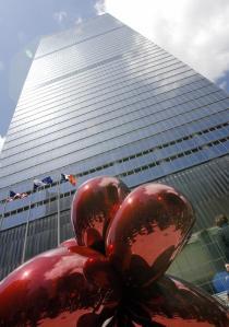"Artist Jeff Koons' sculpture ""Flowery Ba"