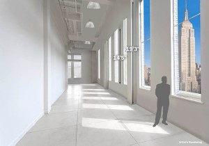 Its future tenant can enjoy emperor-like views from the 14-foot windows in the 13,525-square-foot space. The ceilings are 19 feet high.