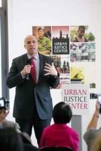 U.S. Senator Cory Booker spoke at a ribbon-cutting ceremony for the Center at 40 Rector Street in Lower Manhattan.