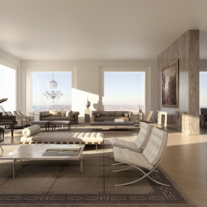 Rendering of an interior at 432 Park Avenue.