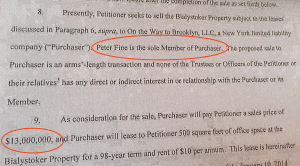 This section reveals that Peter Fine is the buyer and will be paying $13 million.