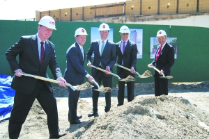 SHOVEL BUDDIES: Ground was recently  broken on the 35-story LEED Silver targeted 44-28 Purves Street .