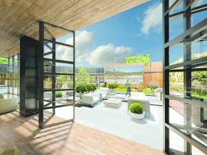 Amenity lounge to courtyard at 44-28 Purves Street (Rendering: FXFOWLE Architects).