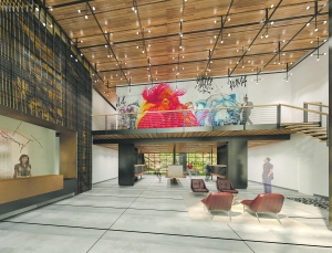 Lobby at of 44-28 Purves Street (Rendering: FXFOWLE Architects).