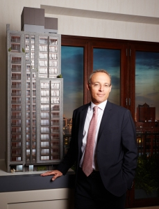 Miki Naftali at the sales office for 210 West 77th Street (Photo: Yvonne Albinowski/For Commercial Observer)