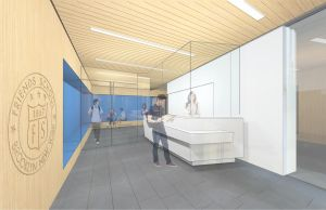 A rendering of the lobby for Brooklyn Friends School's high school at 1 MetroTech Center.