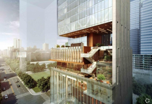A rendering of the Hudson Rise hotel and condos.