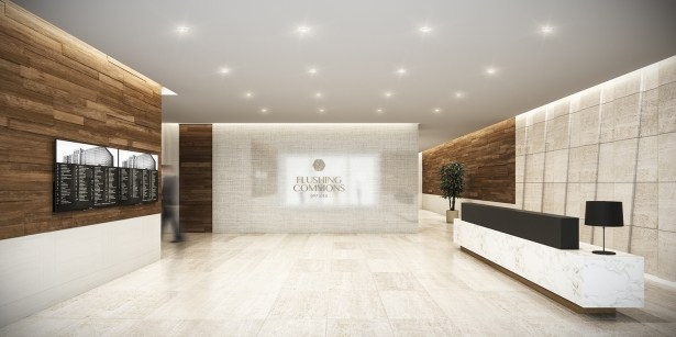 Rendering of the lobby of the office condos building.