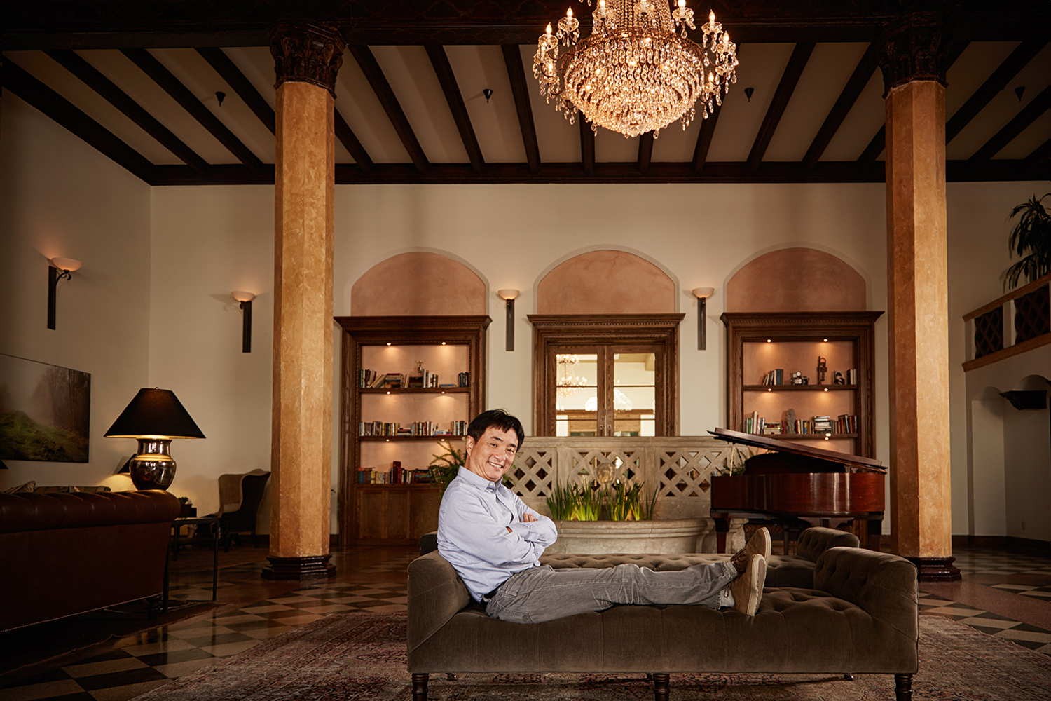 Mr. Lou inside the renovated Hotel Normandie (Photo: Rocco Ceselin for Commercial Observer).
