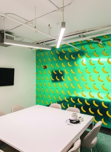 One of the area's conference rooms has scratch-and-sniff wallpaper (Photo: Sasha Maslov for Commercial Observer).