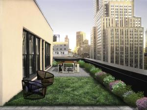 A rendering of the renovated terrace at 45 West 34th Street (Rendering: Design Republic).