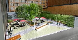Rendering of the public plaza adjacent to 600 Third Avenue, on East 40th Street.