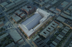 Aerial rendering of Bedford Union Armory (Rendering: BFC Partners).